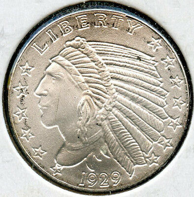 Incuse Native American Indian .999 Silver Art Medal - Round 1/10 oz Troy - MA133