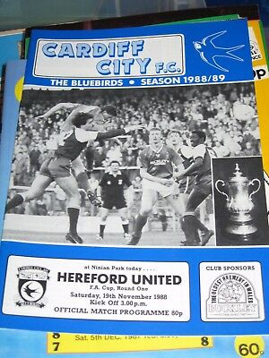 1988-89 Cardiff City v Hereford United v FA Cup 1st round 19.11.1988