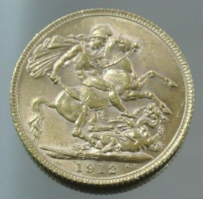1912 London George V British One Sovereign Gold Coin