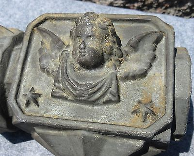 Antique Architectural Cast Iron Angel Cherub Fence Finial #1~Rustic Garden Decor