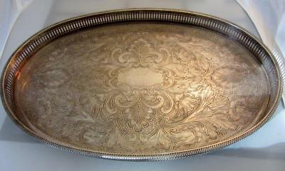 Beautiful OLD REED & BARTON Ornate ENGRAVED OVAL SilverPlate TRAY w GALLERY EDGE