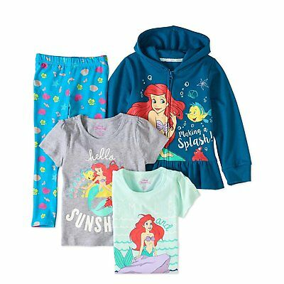 Disney Store Princess Ariel 4 PC Hoodie Shirt Legging Set Girl Size 5 6