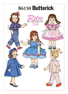 """Butterick Sewing Pattern 6150 18"""" Vintage '54 Retro Doll Clothes - Dresses, Coat"""
