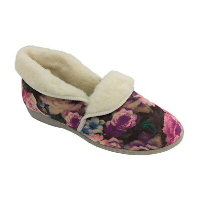 Ladies Slippers Grosby Daria Fleecy Lined Floral Warm Comfort Slipper Size 5-10