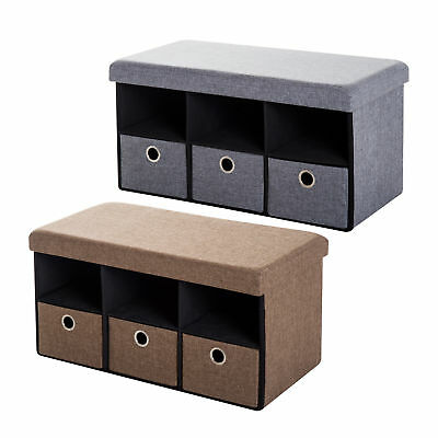 Ottoman Storage Foldable Bench Stool Box With Padded Seat Organizer 2  Colours