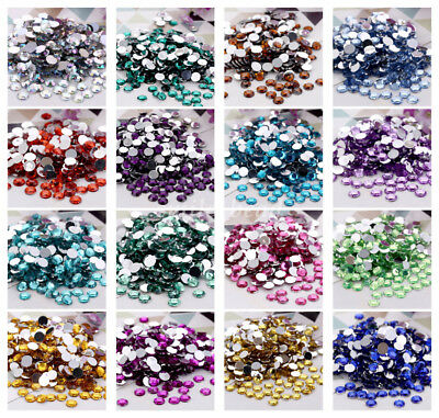 20pcs 10mm Crystal Round Acrylic Rhinestones Flat Back Beads Gem DIY Craft New