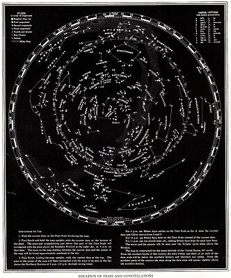 1938 Vintage STAR and CONSTELLATION Map Chart Antique ASTRONOMY Print  4297