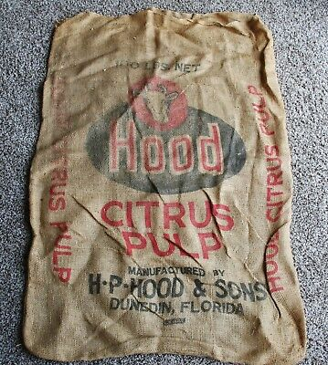 RARE Antique Vtg. Burlap Bag Sack H P Hood Cow Livestock Citrus Farm Dunedin FL