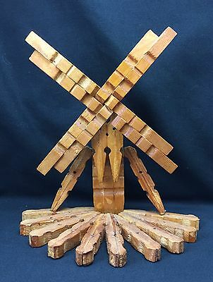Vintage Wooden Peg Folk Art Windmill