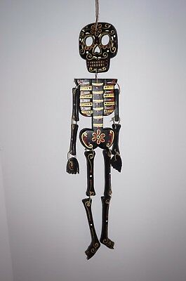 Day of the dead Skeleton wooden wall hanger candy skull Mexico Goth
