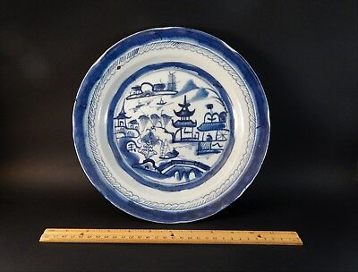 """Antique 19th Century Chinese Export Blue White Canton Soup Bowl Plate 10 1/8"""""""