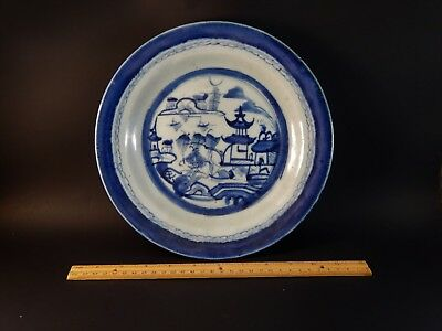 """Antique 19th Century Chinese Export Blue White Canton Soup Bowl Plate 10"""""""