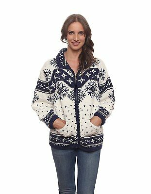 Invisible World Womens Wool/Cotton Blend Blue and White Otavalo Cardigan Sweater