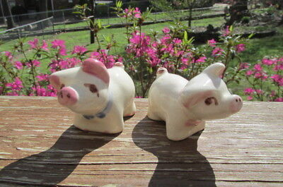 Small Vintage Pottery Pig Pair Boy Girl California ?? White w/ Pink Ears Snouts