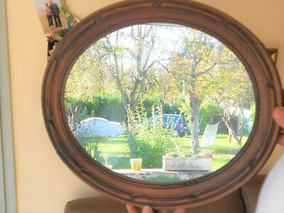 Antique french WOOD carved Oval FRAMED MIRROR