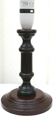 Wooden Table Lamp Turned Wooden Lamp Dark Wood Candlestick Lamp Antique Style