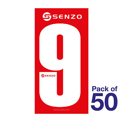 9 Number Pack of 50 White on Red Senzo