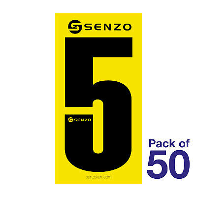 5 Number Pack of 50 Black on Yellow Senzo