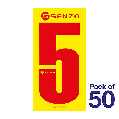 5 Number Pack of 50 Red on Yellow Senzo Go Kart Karting Race Racing