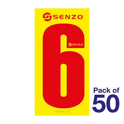6 Number Pack of 50 Red on Yellow Senzo