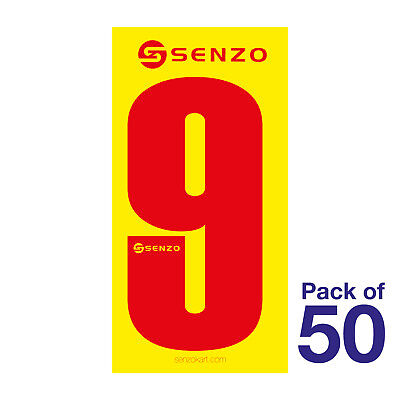 9 Number Pack of 50 Red on Yellow Senzo