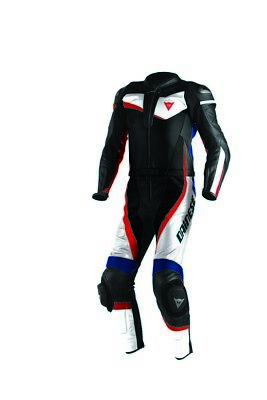 Dainese Veloster 2-pc Mens Leather Leather Suit White/Black/Blue/Red