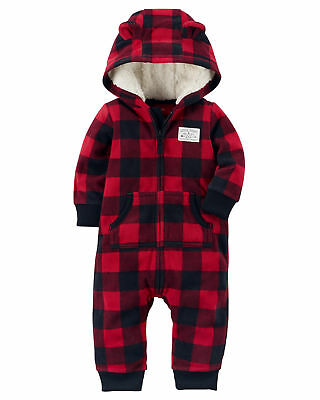Carter's Red/Black Buffalo Check Printed Zip Up Hooded Coverall