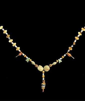 Mainly Bactrian Banded Agate, Cornelian & Gold Bead Necklace