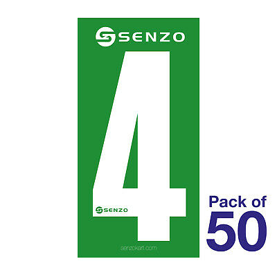 4 Number Pack of 50 White on Green Senzo