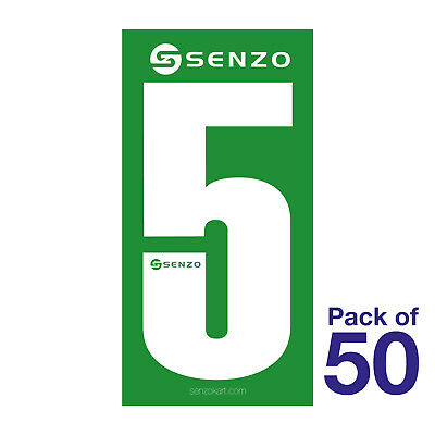 5 Number Pack of 50 White on Green Senzo