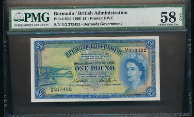 1966 £1 Pound Note. Bermuda / British Administration PMG 58 EPQ