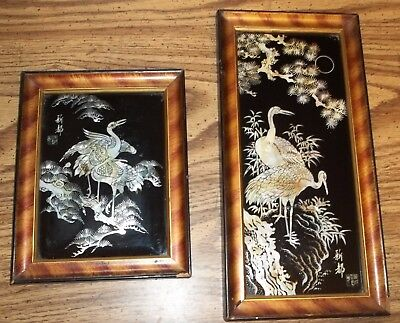 Vintage Asian Mother Of Pearl Birds Pictures/framed-Guc