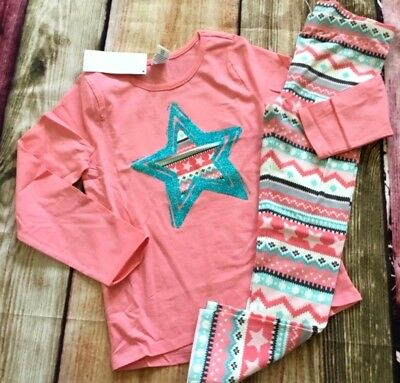 Gymboree Mix N Match Set Coral Sparkle Star Top Fair Isle Leggings NWT Outlet