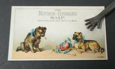 MOTHER HUBBARD SOAP Victorian Trade Card with 2 Dogs