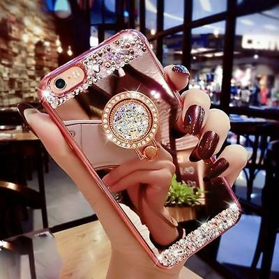 Luxury Bling Diamond Crystal Ring Holder Stand Kickstand Mirror Phone Cover Case