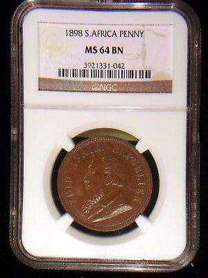 South Africa ZAR 1898 Penny *NGC MS-64* Scarce 4 Year Boer War Issue