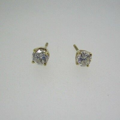 14k Yellow Gold Approx .75ct TW Round Brilliant Cut Diamond Earrings
