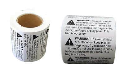 500 Risk of Suffocation Warning Label for FBA for Clear OPP or Poly Bags