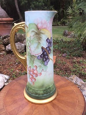 Gorgeous Antique German Hand Painted Fine Porcelain Large Tankard c1902-1908