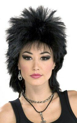 Rock Star 80's Rock Idol Black Adult Spiked Wig Punk Rocker Costume Accessory