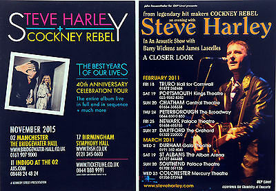 4 X Steve Harley Cockney Rebel Flyers - 2015 Best Years Of Our Lives & 2011 Tour