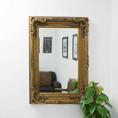 Large Vintage Style Abbey Gold Wall Rectangle Wood Mirror 4Ft X 3Ft 122x92cm