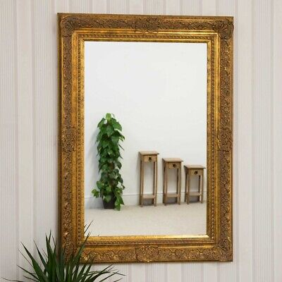 Large Very Ornate Antique Style Gold Big Wall Mirror 3Ft10 X 2Ft10 117cm X 86cm