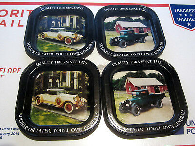 Vintage General Tire Company Advertising Coasters Chevy Truck & Packard Runabout