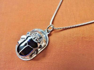 Antique Egyptian Silver Pendant Neckalce Chain of Ancient Scarab Beetle..STAMPED
