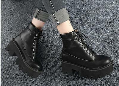 07036850a95 Womens Punk Ankle Boots Casual Platform Chunky High Heel Lace Up Round Toe  Shoes