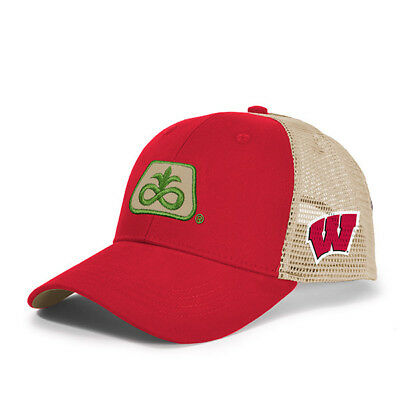 2017 PIONEER SEED *WISCONSIN BADGERS* Red & Gold MESH *LOGO* HAT*