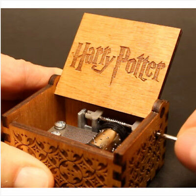 Harry Potter Music Box Engraved Wooden Hand-cranked Music Box Toy Kid Child Gift