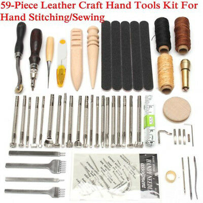 59Pcs Leather Craft Punch Tools Stitching Carving Working Saddle Sewing Groove