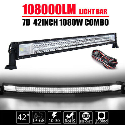 Curved TRI-ROW 42Inch 1080W Combo LED Work Light Bar Car Boat Truck Lamp +Wire